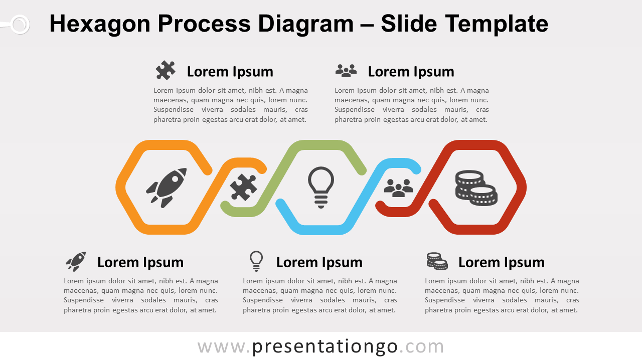 Free Hexagon Process Diagram for PowerPoint and Google Slides