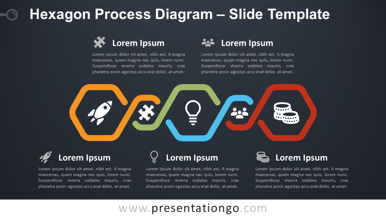 Free Hexagon Process Diagram for PowerPoint