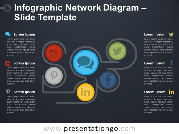 Free Infographic Network Diagram PowerPoint Template Slide