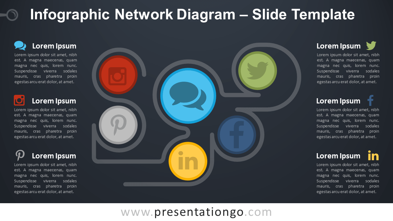 Free Infographic Network Diagram for PowerPoint