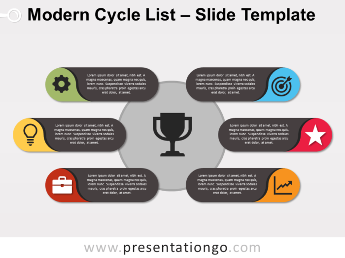 Free Modern Cycle List PowerPoint Template
