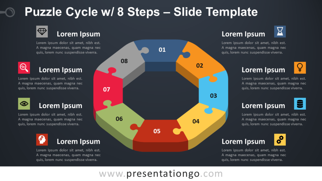 Free Puzzle Cycle with 8 Steps for PowerPoint