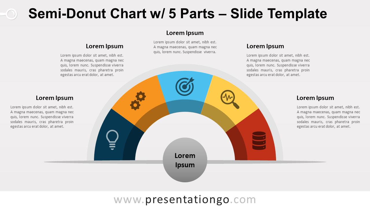 Free Semi-Donut Chart with 5 Parts for PowerPoint and Google Slides