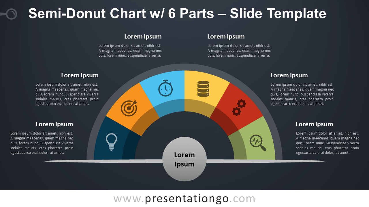 Free Semi-Donut Chart with 6 Parts for PowerPoint