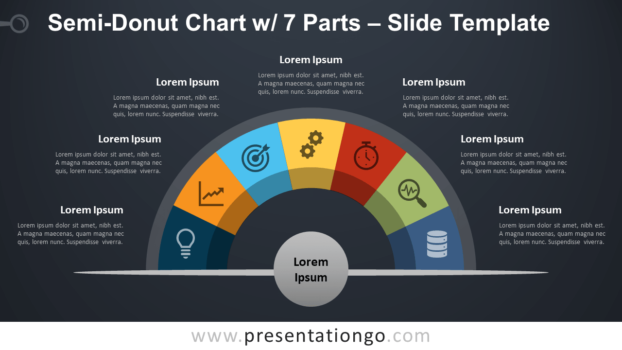 Free Semi-Donut Chart with 7 Parts for PowerPoint