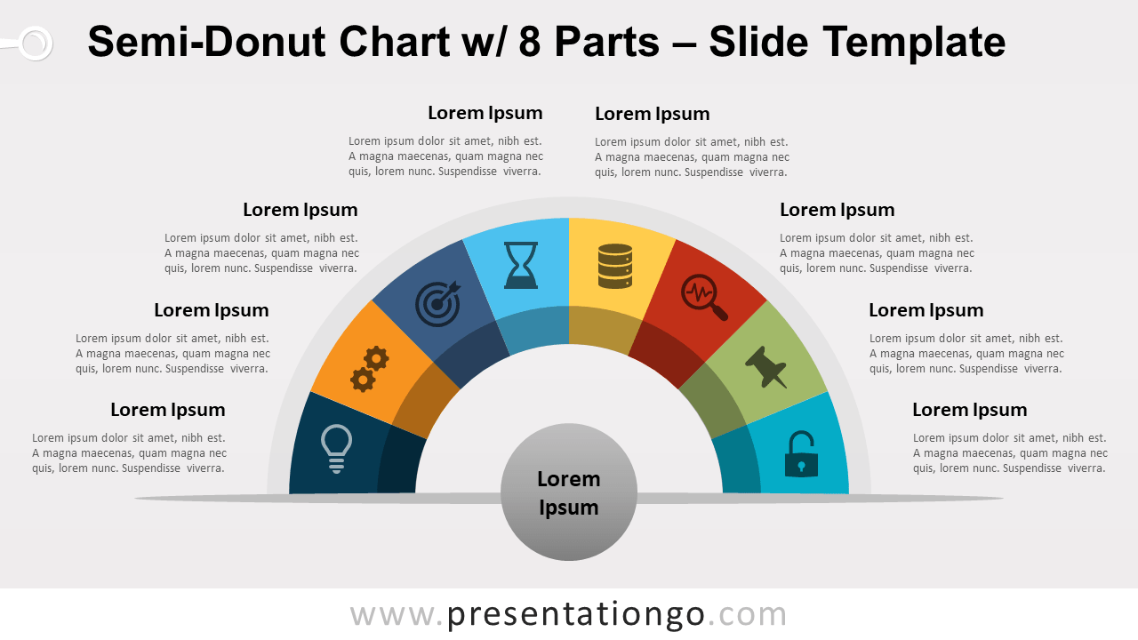 Free Semi-Donut Chart with 8 Parts for PowerPoint and Google Slides