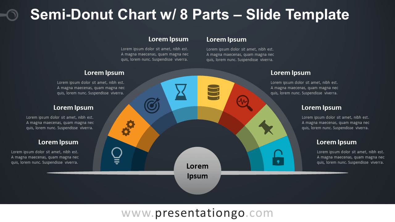 Free Semi-Donut Chart with 8 Parts for PowerPoint