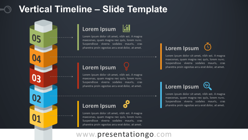 Free Vertical Timeline with Cubes for PowerPoint