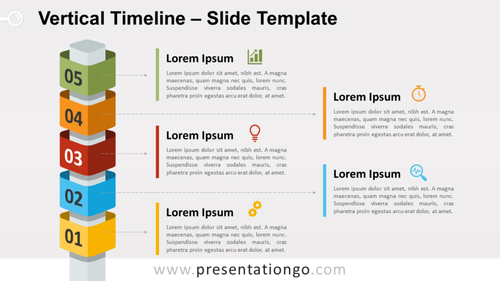Free Vertical Timeline with Cubes for PowerPoint and Google Slides