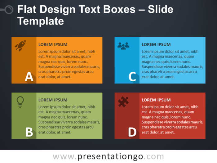 Free Flat Design Text Boxes - PowerPoint Template Slide