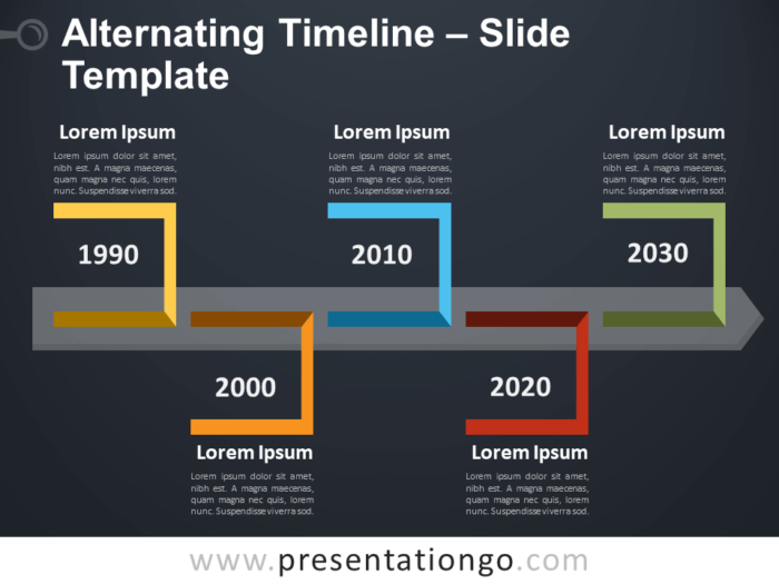 Free Alternating Timeline Template for PowerPointt