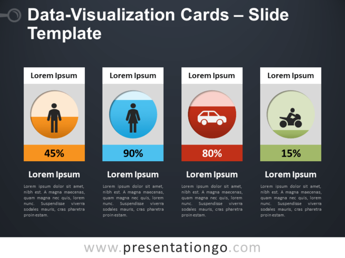 Free Data Visualization Cards PowerPoint Dashboard