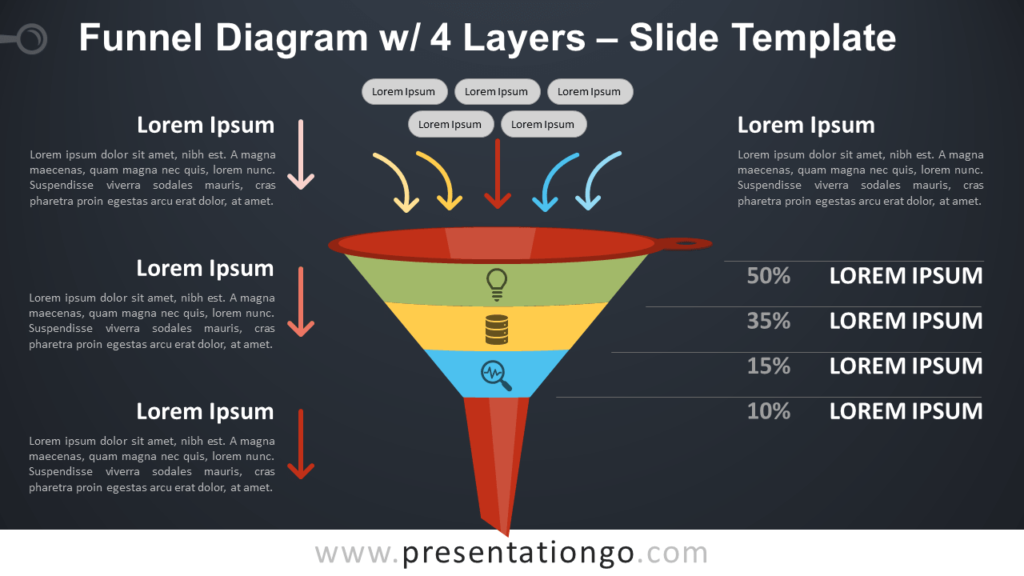 Free Funnel Diagram with 4 Layers - PowerPoint and Google Slides Template