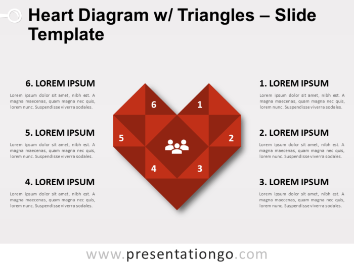 Free Heart Diagram with Triangles for PowerPoint