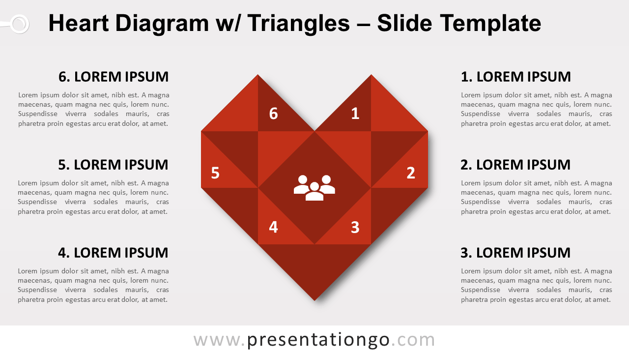 Free Heart Diagram with Triangles for PowerPoint and Google Slides