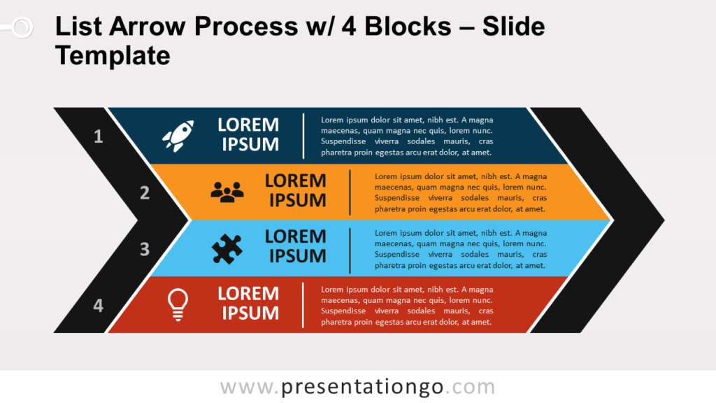 Free List Arrow Process with 4 Blocks for PowerPoint and Google Slides