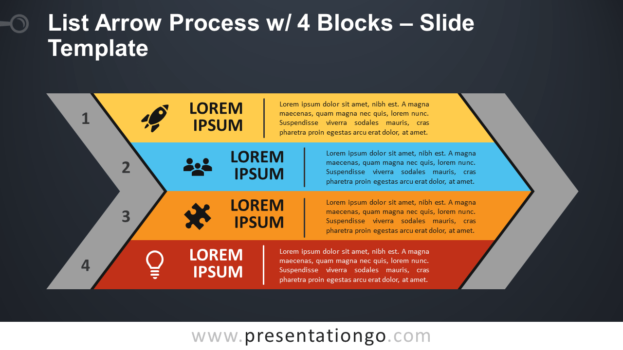 List Arrow Process with 4 Blocks - Free PowerPoint and Google Slides Template