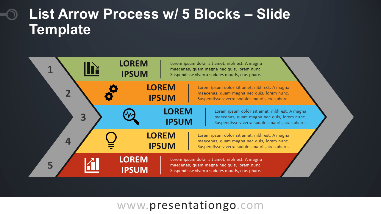 List Arrow Process with 5 Blocks - Free PowerPoint and Google Slides Template