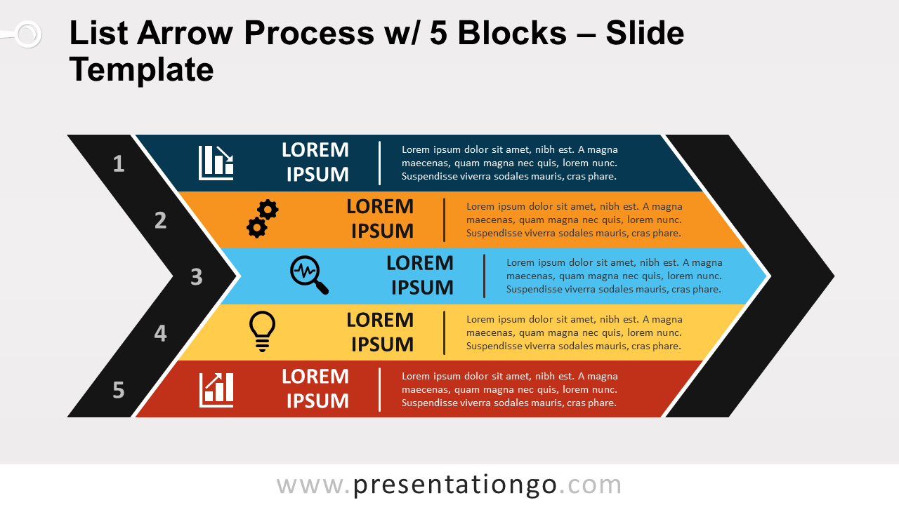 Free List Arrow Process with 5 Blocks for PowerPoint and Google Slides