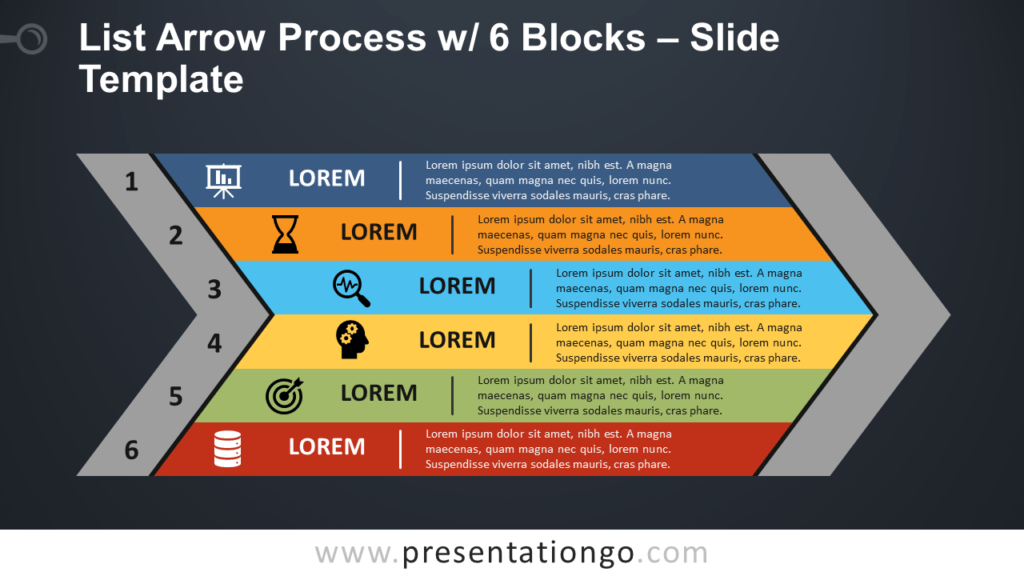 List Arrow Process with 6 Blocks - Free PowerPoint and Google Slides Template