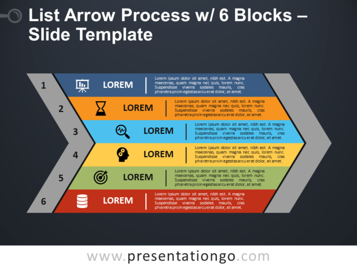 Free List Arrow Process with 6 Blocks PowerPoint Template