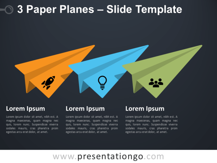 Free 3 Paper Airplanes for PowerPoint