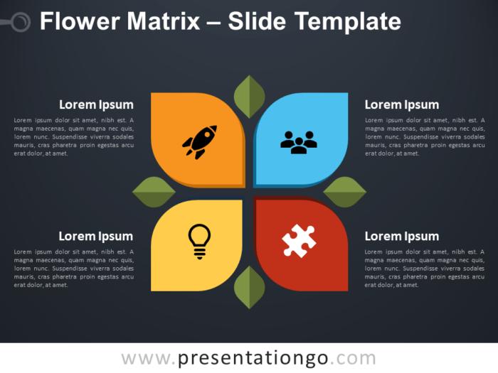 Free Flower Matrix Diagram for PowerPoint