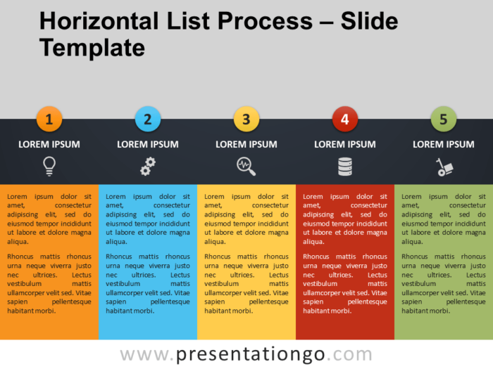 Free Horizontal List Process PowerPoint Template
