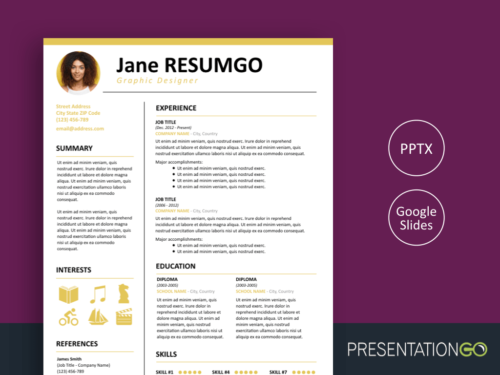 KALLIAS - Gold Resume Template for PowerPoint and Google Slides