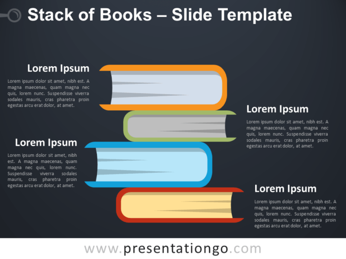 Free Stack of Books Infographic for PowerPoint