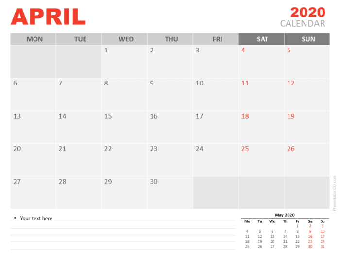 Free April 2020 Calendar for PowerPoint