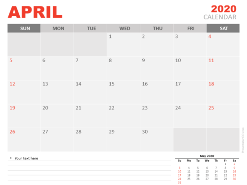 Free Calendar April 2020 for PowerPoint