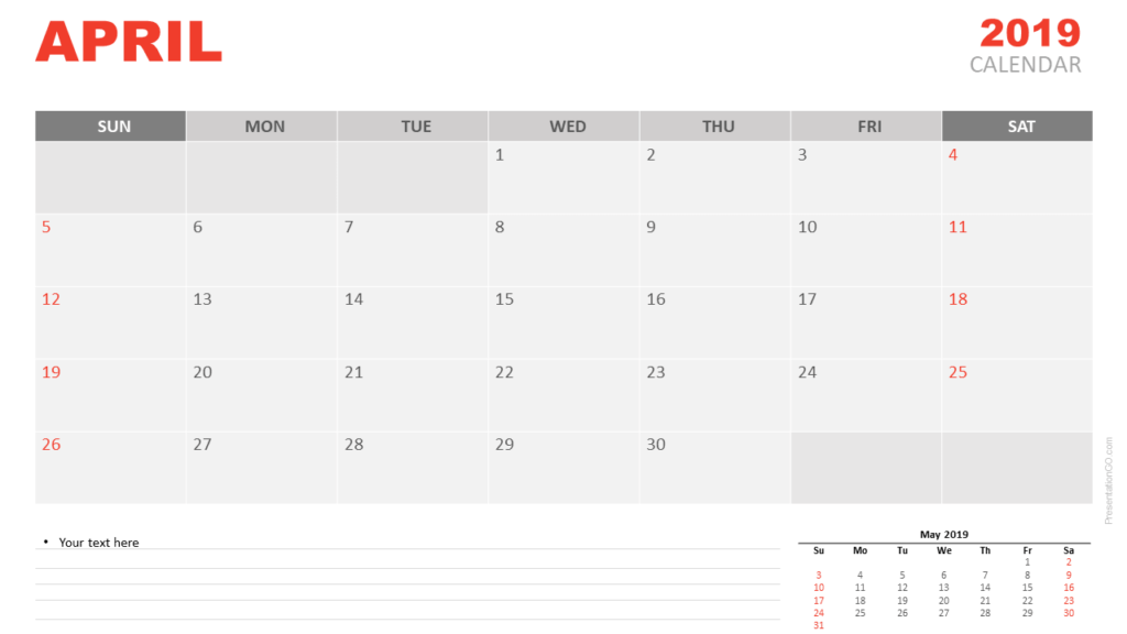 Free Calendar April 2020 for PowerPoint and Google Slides