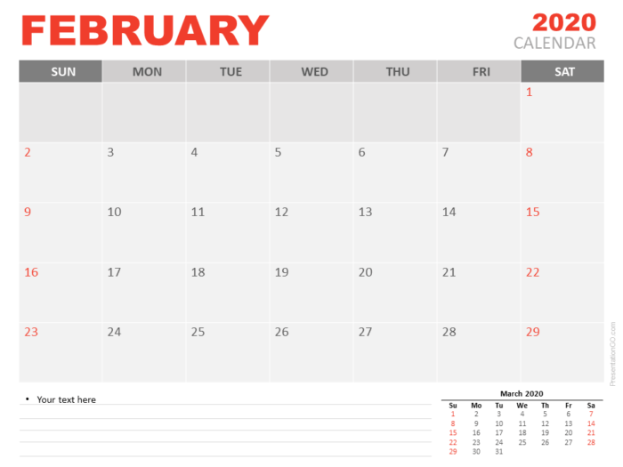 Free Calendar February 2020 for PowerPoint