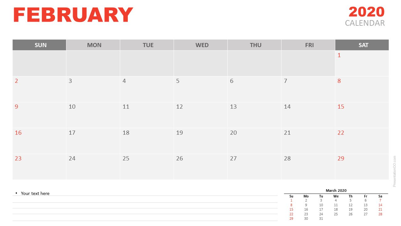 Free Calendar February 2020 for PowerPoint and Google Slides
