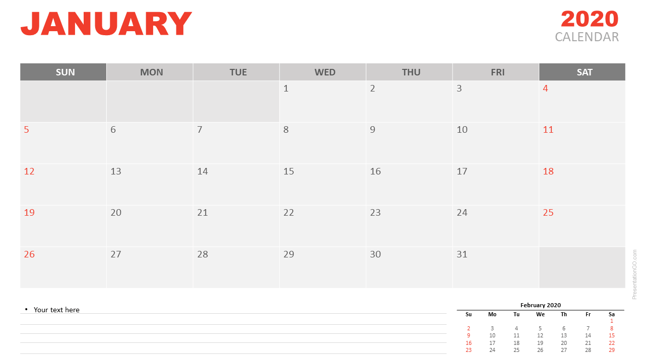 Free Calendar January 2020 for PowerPoint and Google Slides