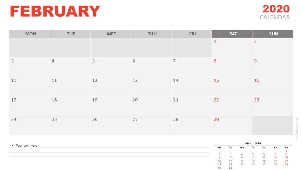 Free February 2020 Calendar for PowerPoint and Google Slides