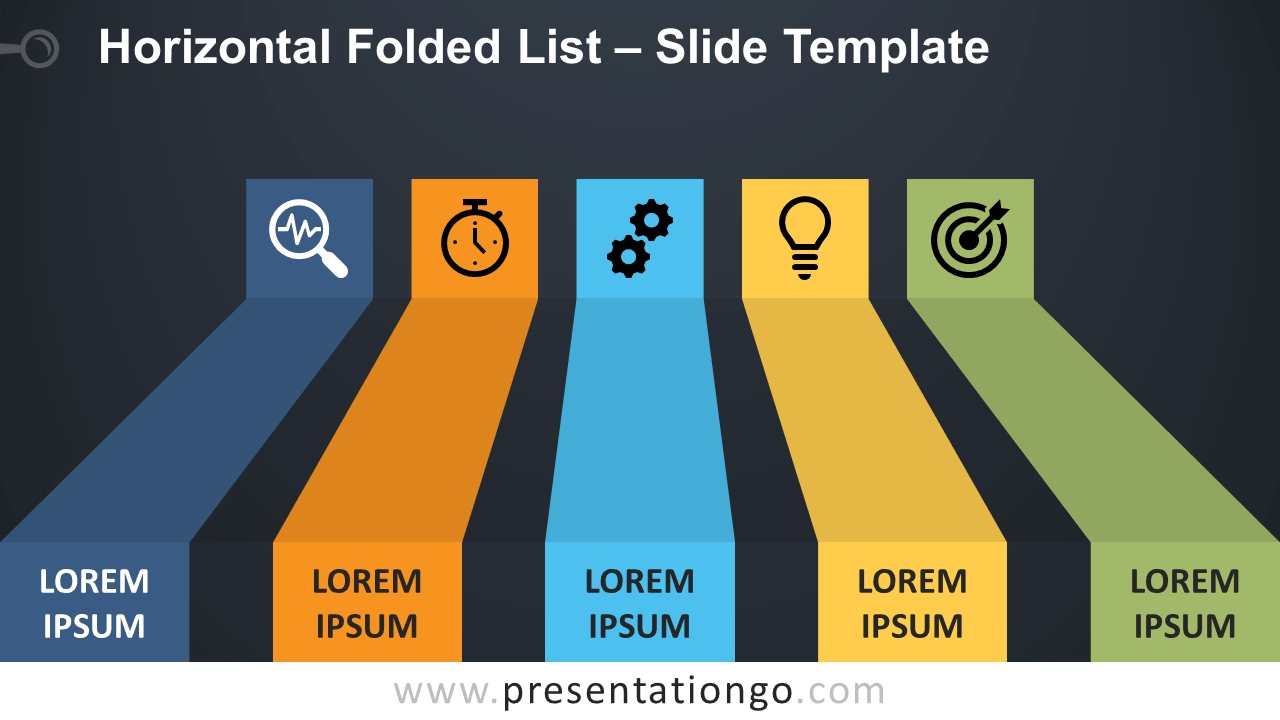 Horizontal Folded List - Free PowerPoint and Google Slides Template