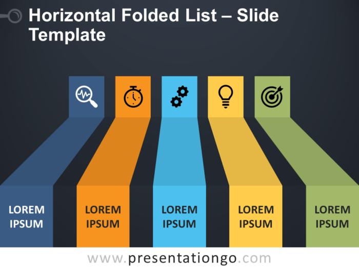 Free Horizontal Folded List PowerPoint Template