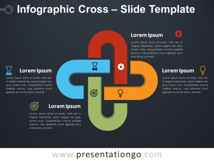 Free Infographic Cross Diagram for PowerPoint
