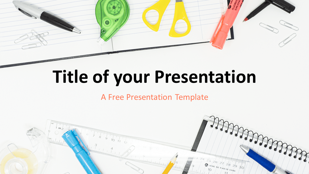 Free School Supplies Template for PowerPoint and Google Slides