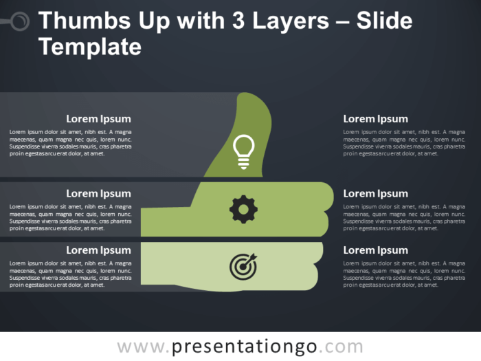 Free Thumbs Up with 3 Layers Infographic for PowerPoint