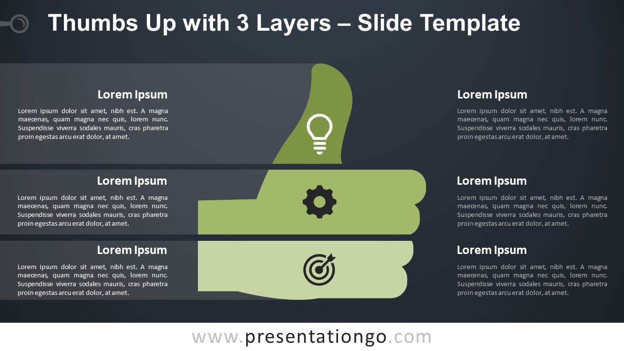 Free Thumbs Up with 3 Layers Infographic for PowerPoint and Google Slides