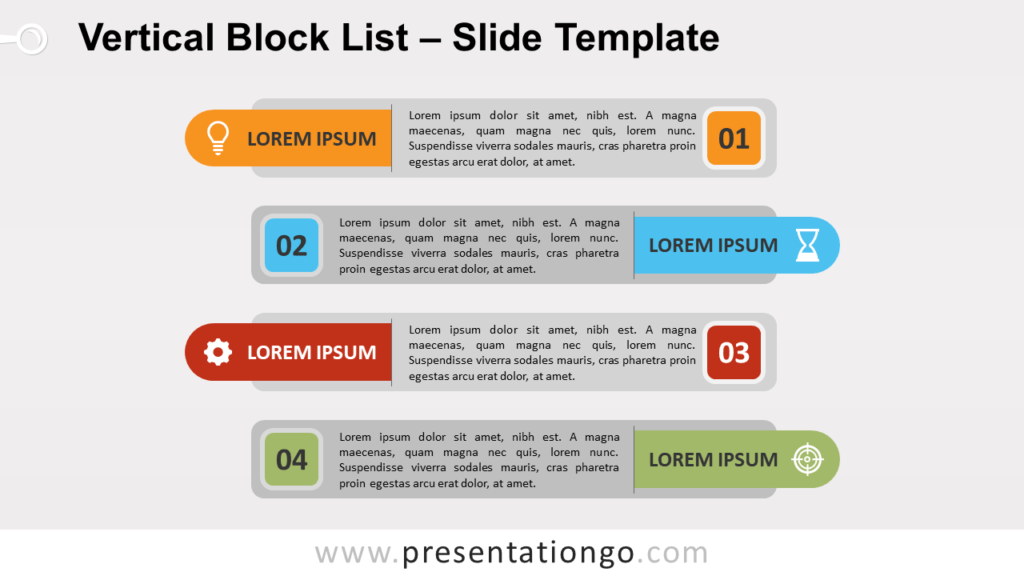 Free Vertical Block List for PowerPoint and Google Slides