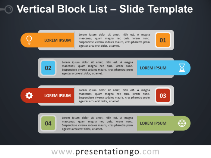 Free Vertical Block List Template for PowerPoint