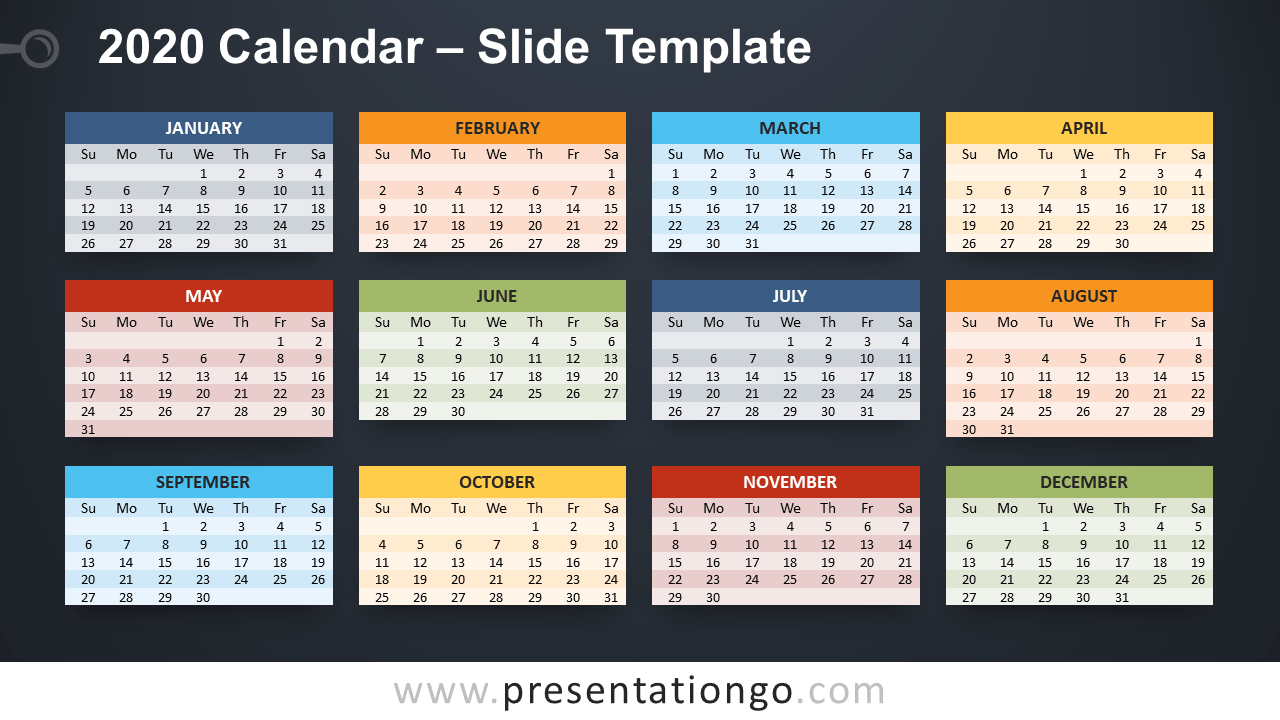 Free 2020 Calendar Template for PowerPoint and Google Slides