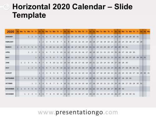 Free Horizontal 2020 Calendar for PowerPoint