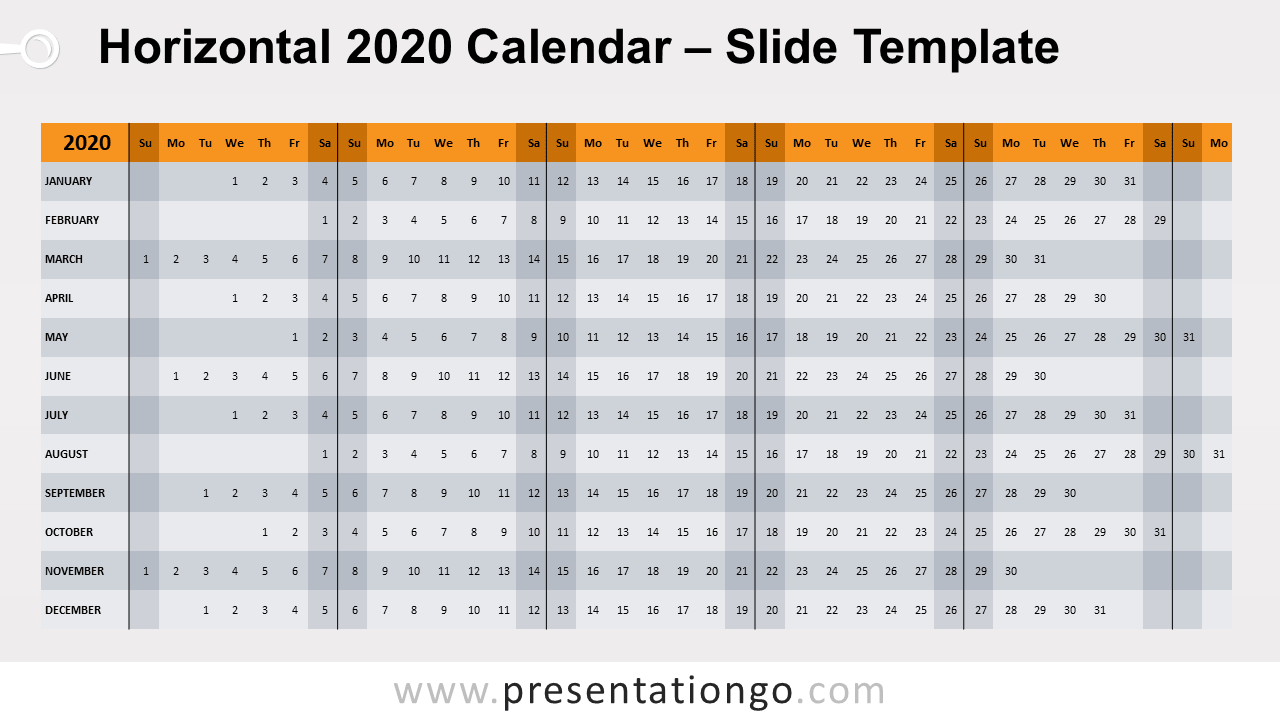 Free Horizontal 2020 Calendar for PowerPoint and Google Slides