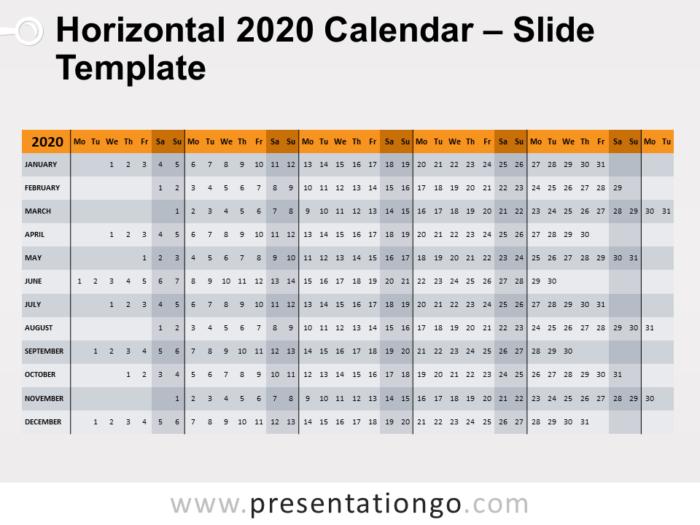 Free Horizontal 2020 Calendar Template for PowerPoint - Week Starts Monday