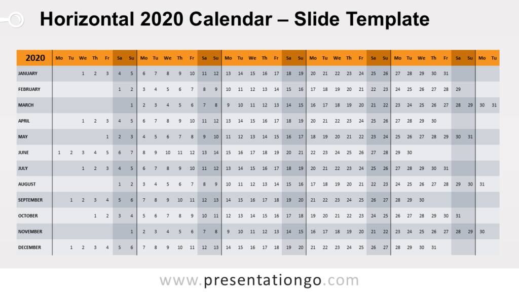 Free Horizontal 2020 Calendar Template for PowerPoint and Google Slides - Week Starts Monday